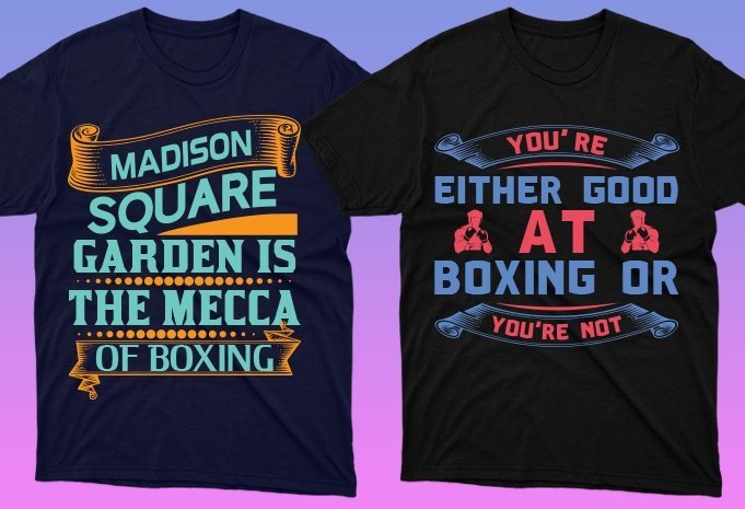 T-shirts with creative boxing graphics.