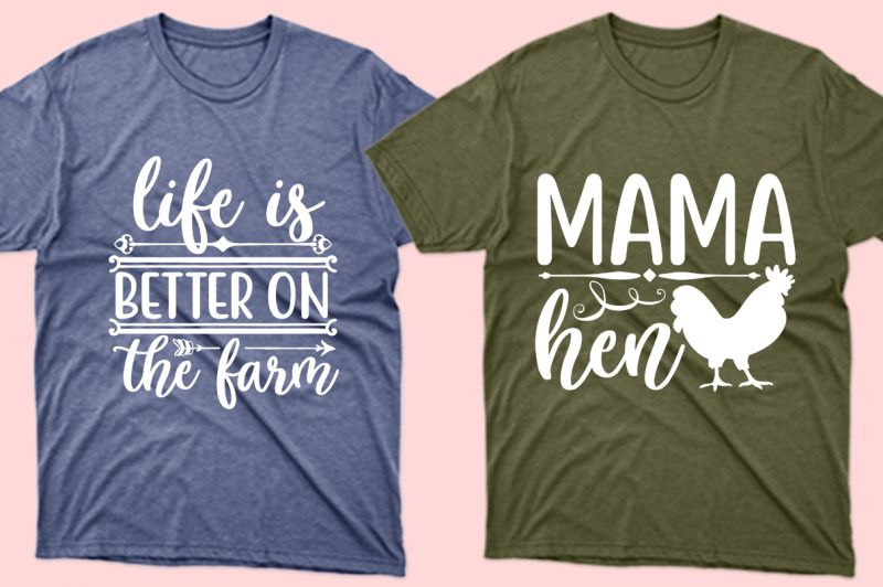 Olive and sky blue T-shirts with themed graphics and lettering.