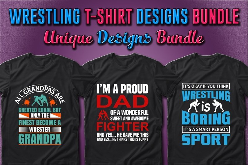 T-shirts for real wrestlers with graphics and phrases.