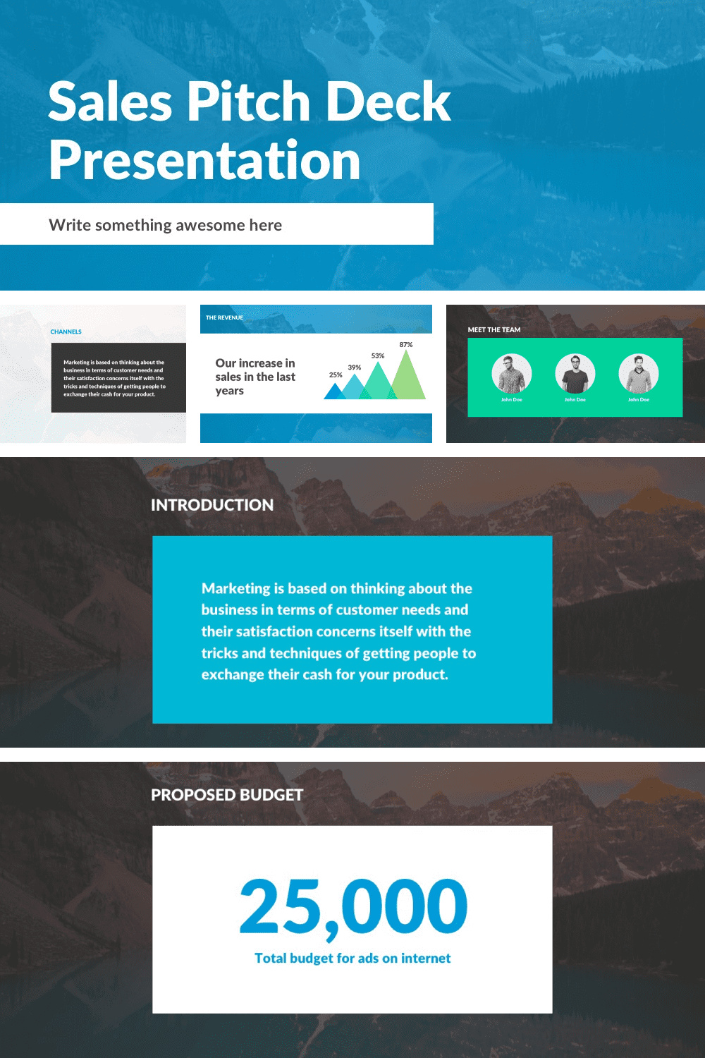 Sales Pitch Free PowerPoint Template Features.