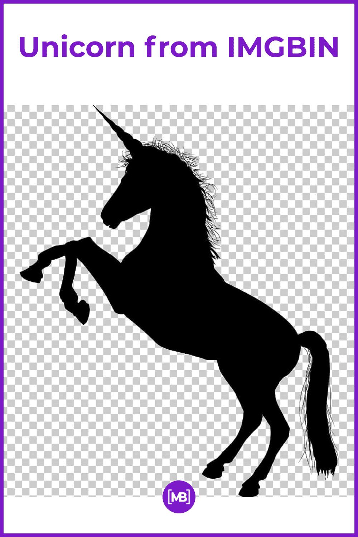 Black unicorn on the transparent background.
