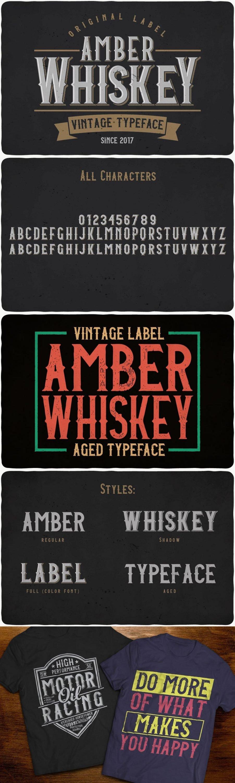 Amber Whiskey Typeface for pinterest.