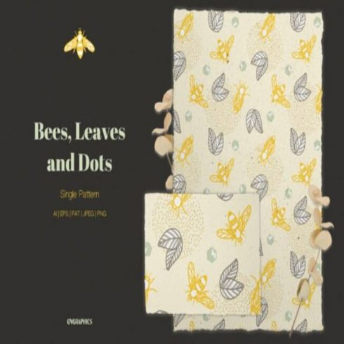 Bees, Leaves and Dots Vector Pattern Design main cover.