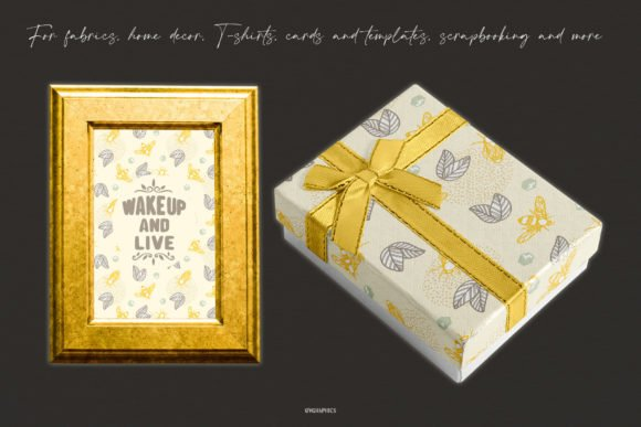Gift box and photo frame in the style of laborg bees.