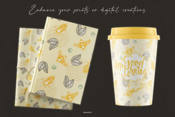 Wrapping paper and a cup of coffee with a familiar illustration.