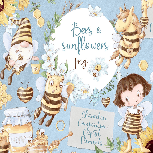Bees sunflowers Digital clipart main cover.