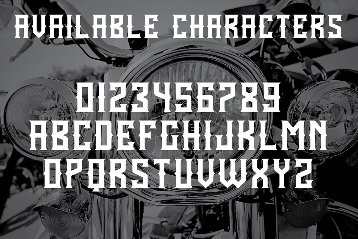 Available characters of Born Free Typeface.