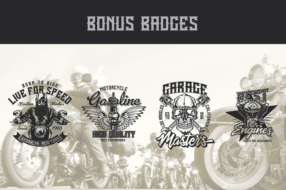 Bonus badges in Born Free Typeface.