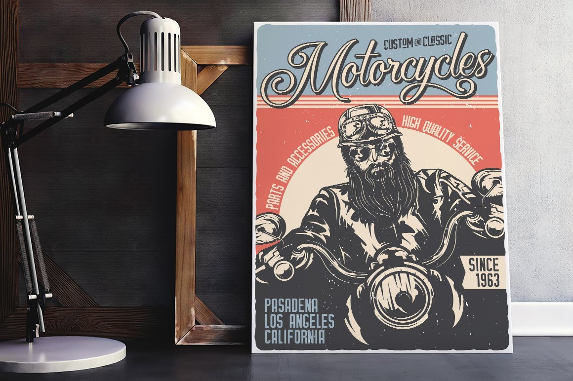 Stylish vintage poster with rough motorcyclist.
