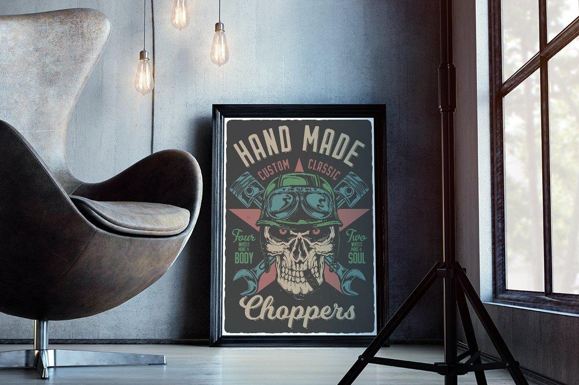 Vintage style poster with biker skull.