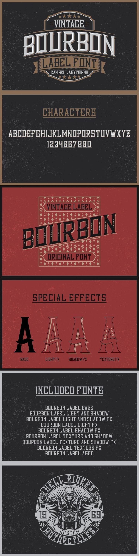 Bourbon Label typeface for pinterest.