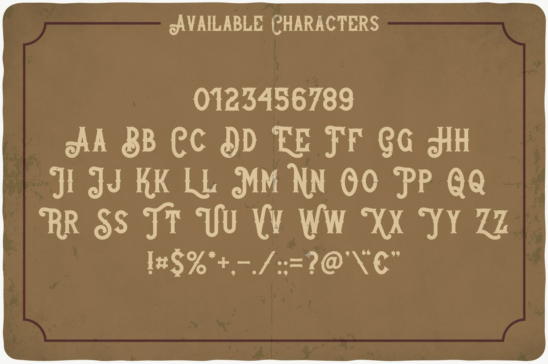 Whiskey Stones Typeface available characters.