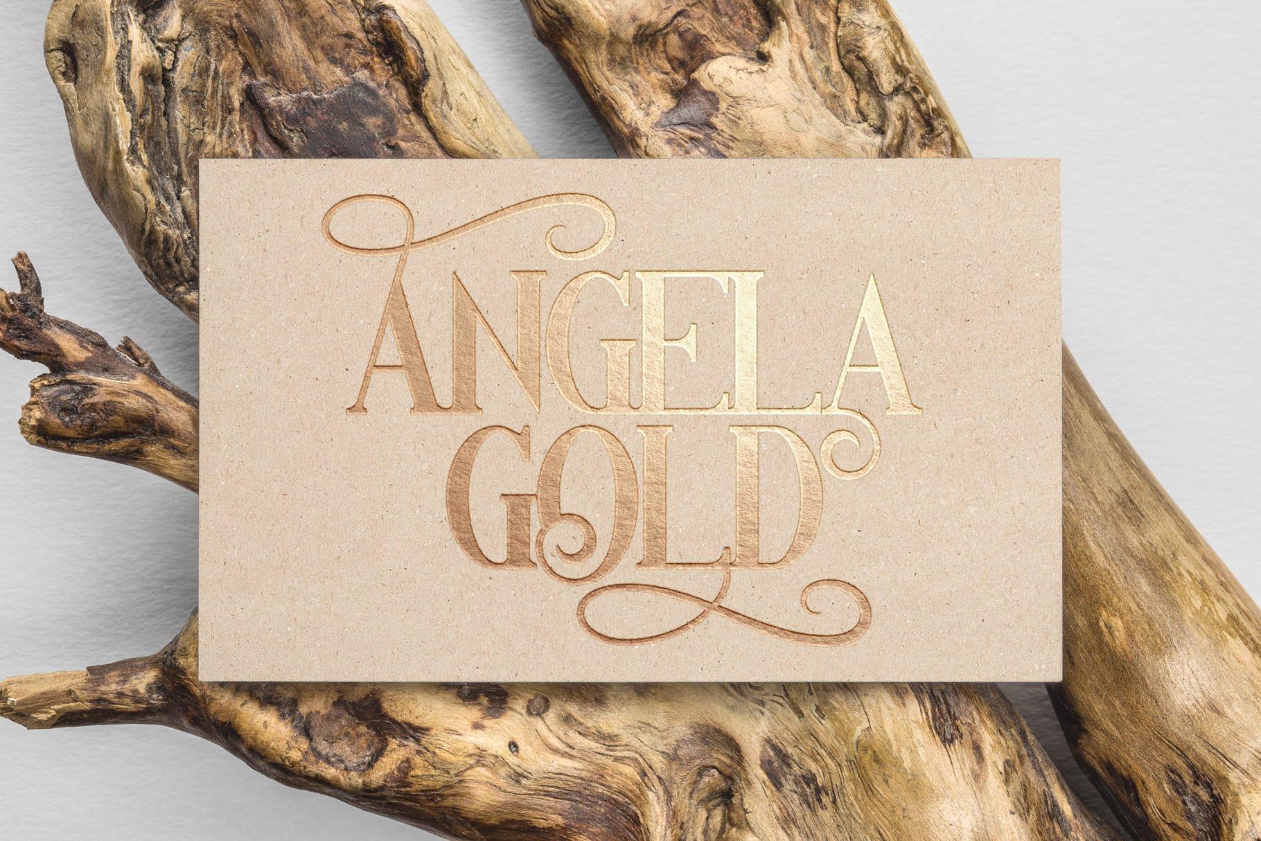 Luxurious golden lettering on plain beige paper.