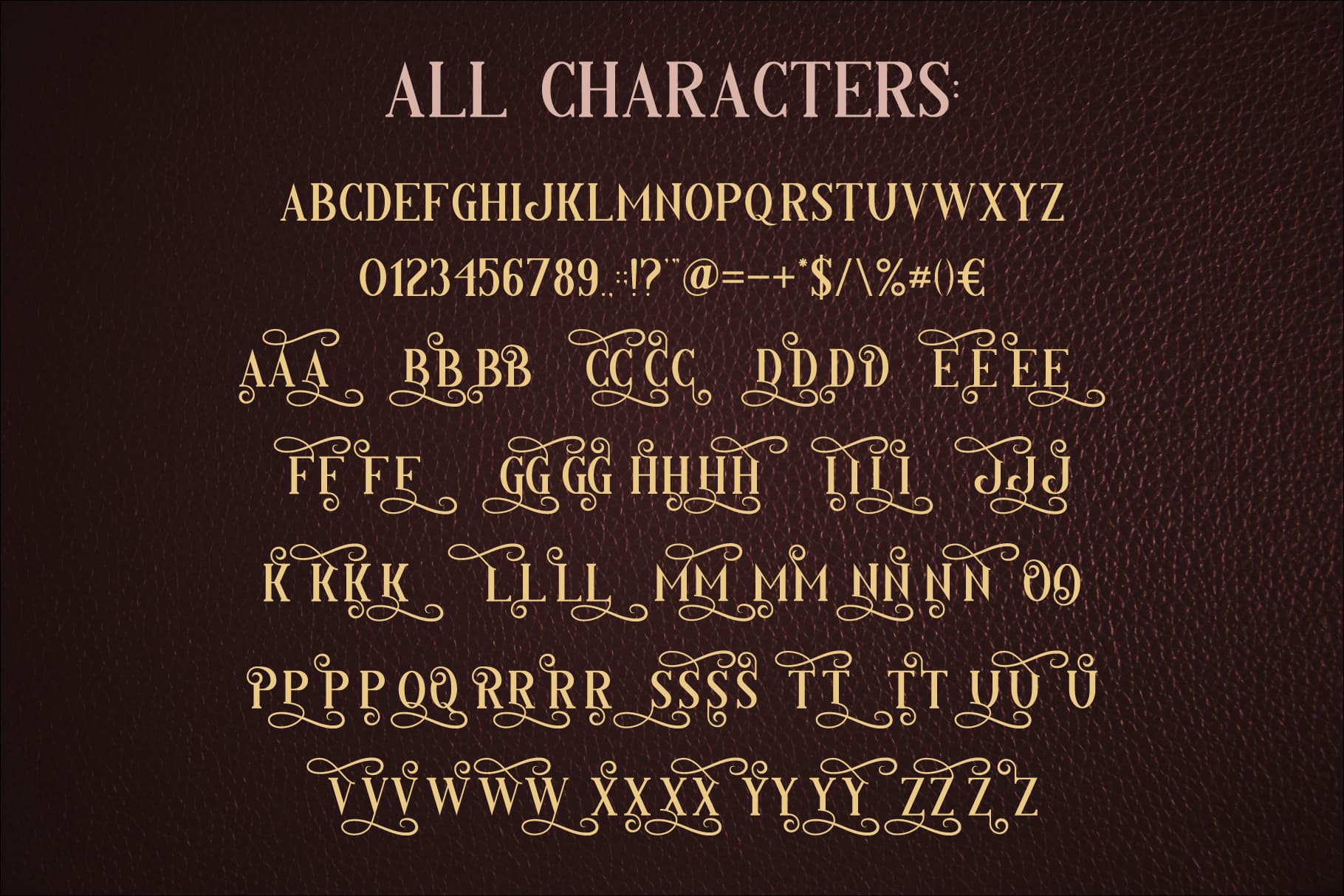 Available characters of Fairy Tale Typeface.