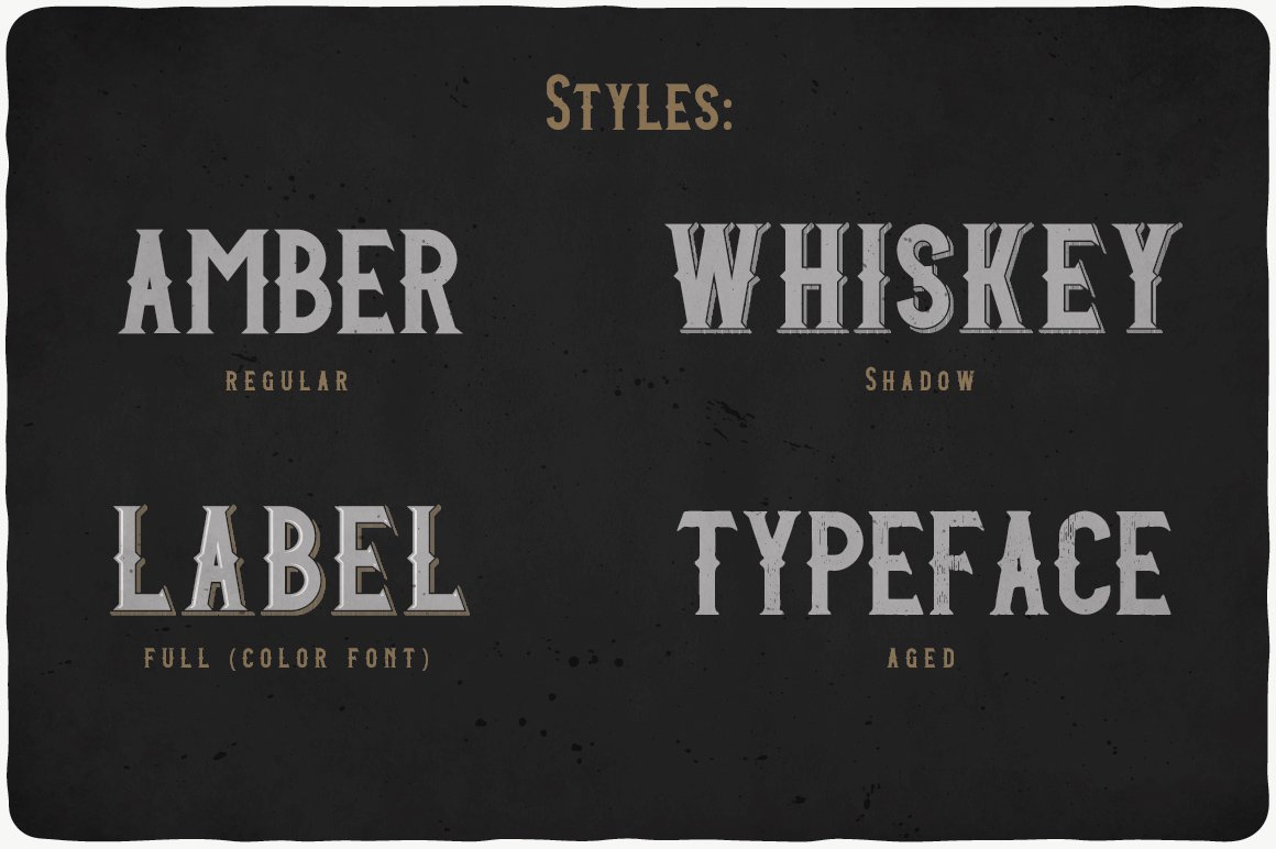 All styles of Amber Whiskey Font.