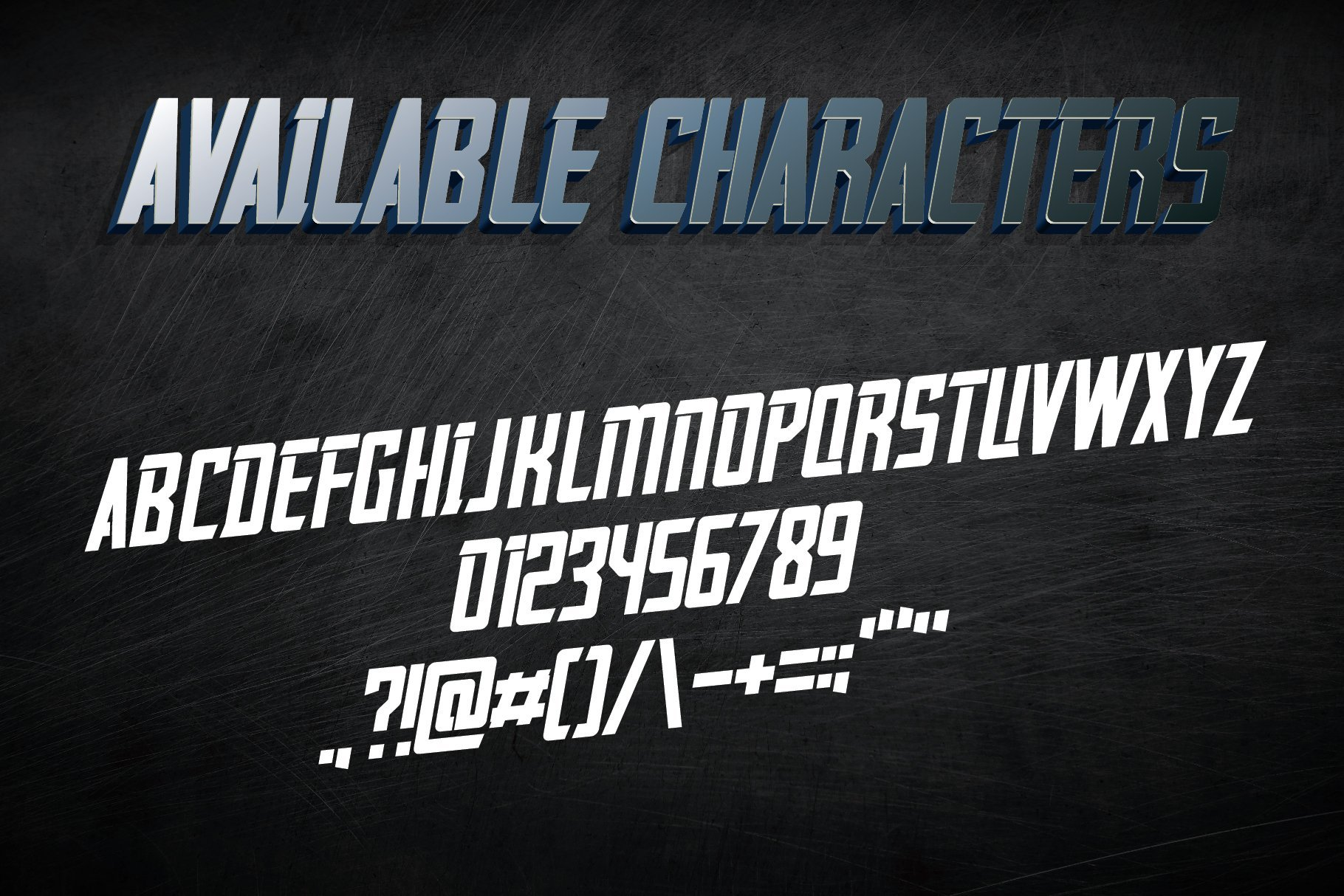 Available characters of font.