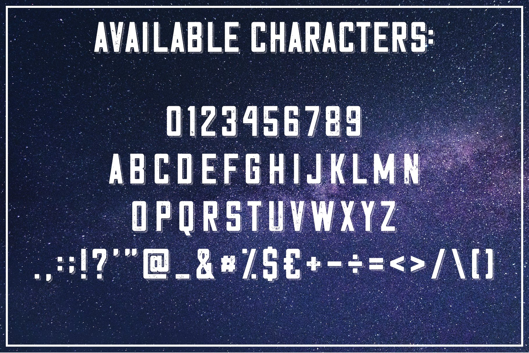 All the features of this font are presented against the background of the starry sky.