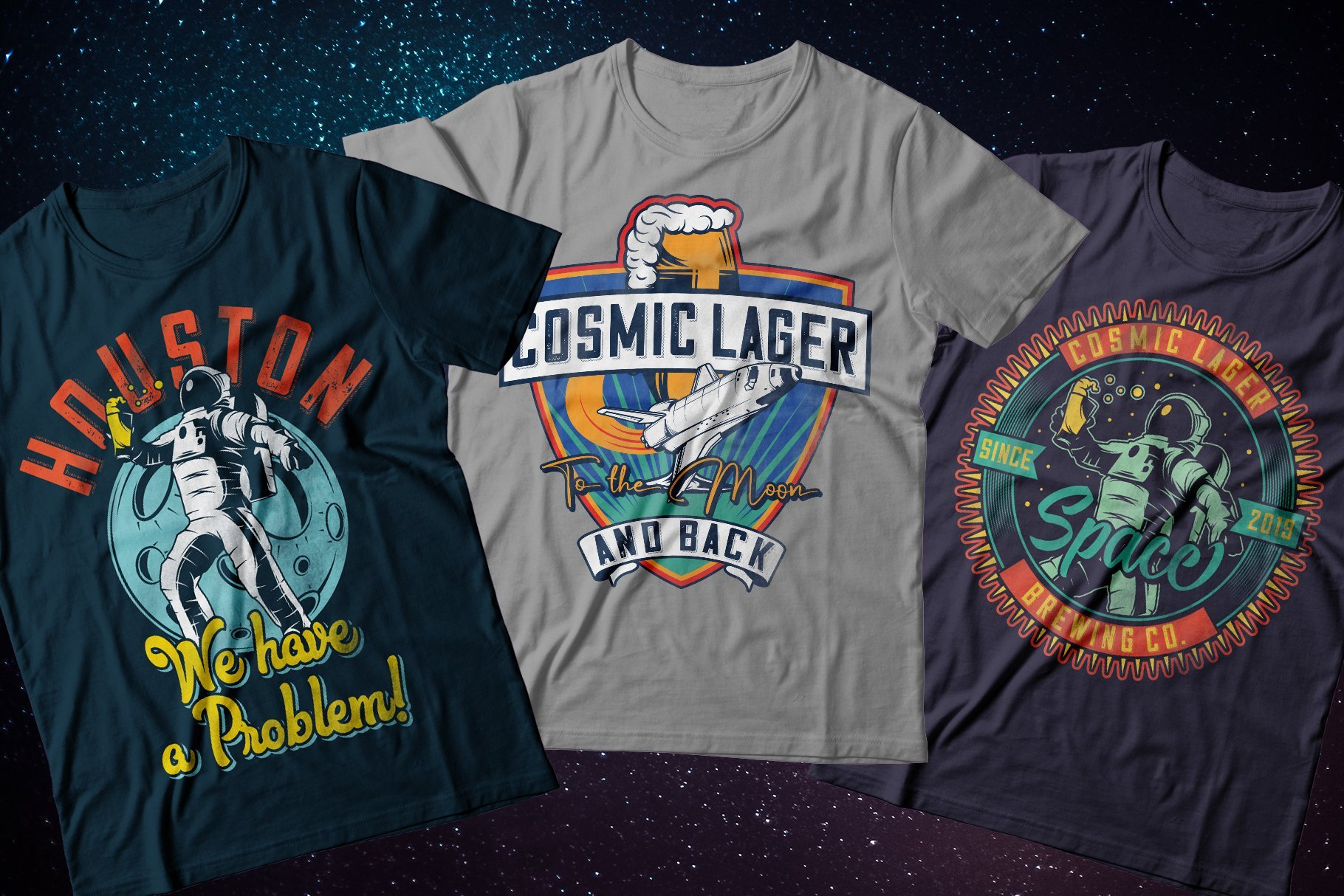 Retro style T-shirts with astronauts and other graphics.