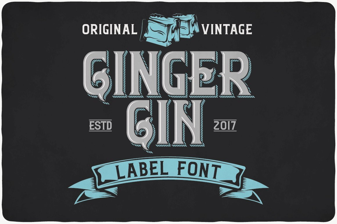 Vintage font with turquoise elements.