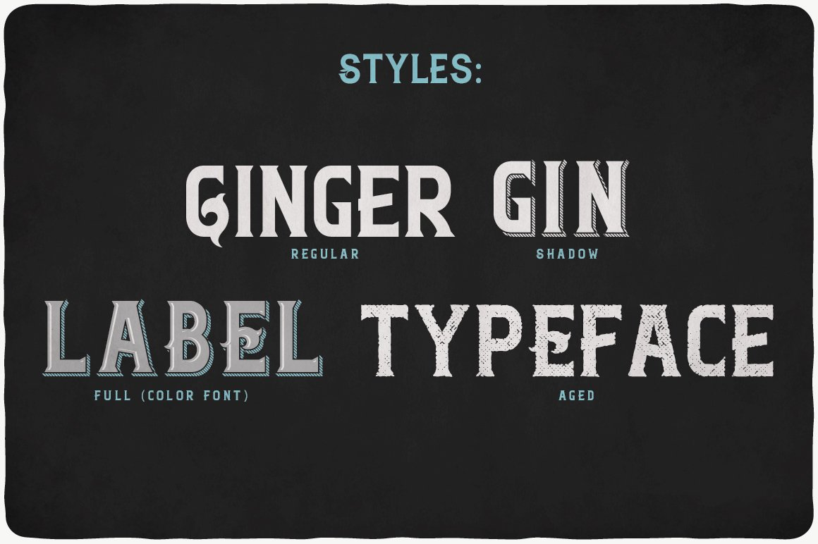 Ginger Gin Typeface all styles.