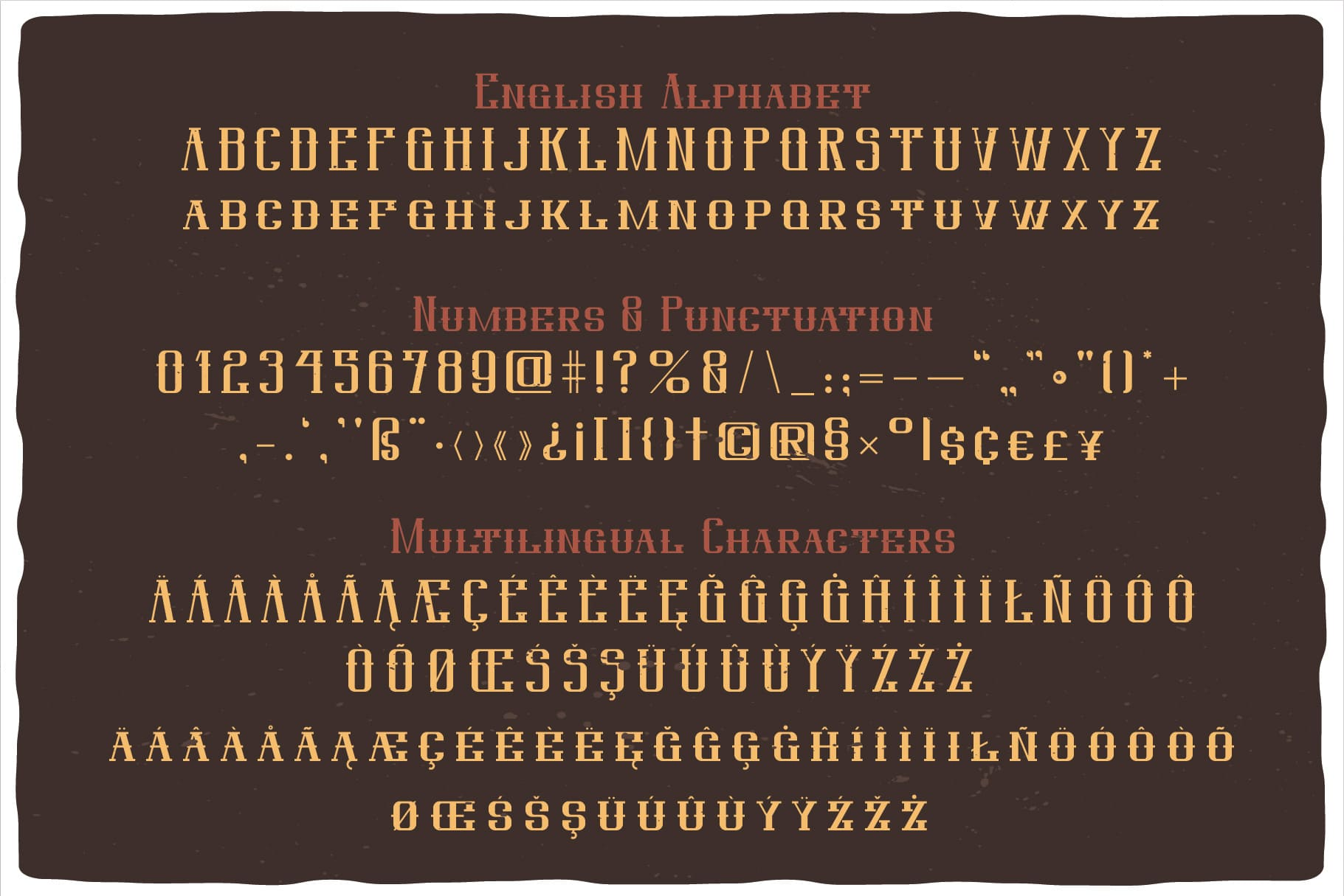General view of the font on a brown background. Western Whiskey Font.