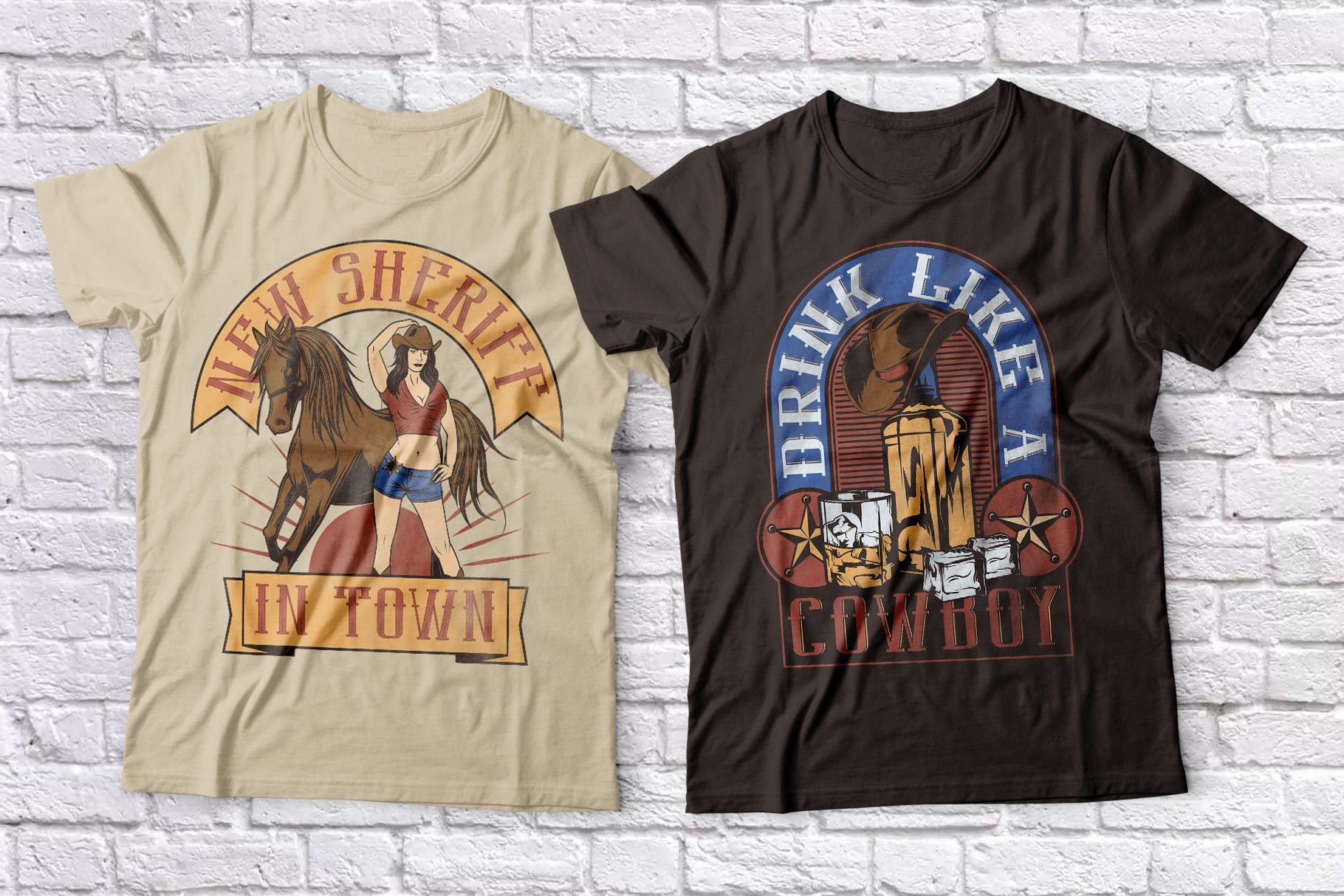 Vintage T-shirts with original images on the T-shirts.