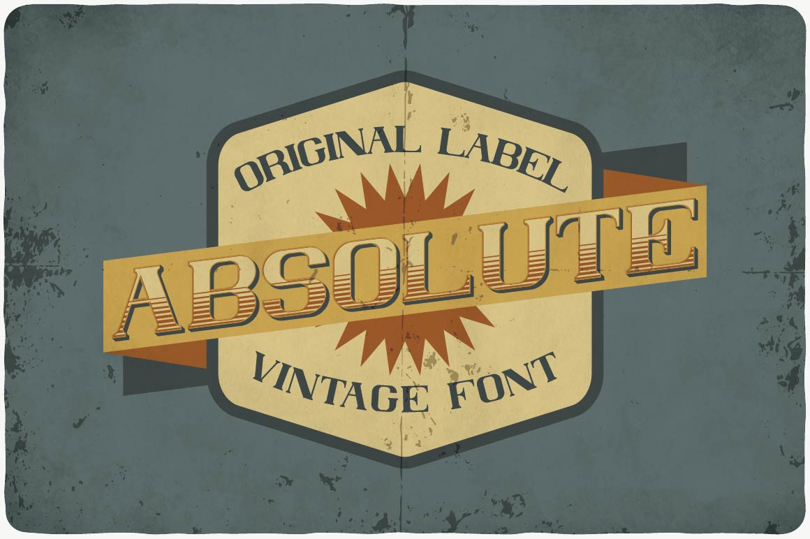 Vintage font and picture in retro style in calm colors.