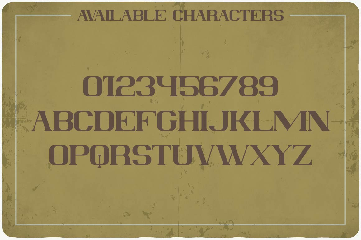 Available characters of Absolute Typeface.