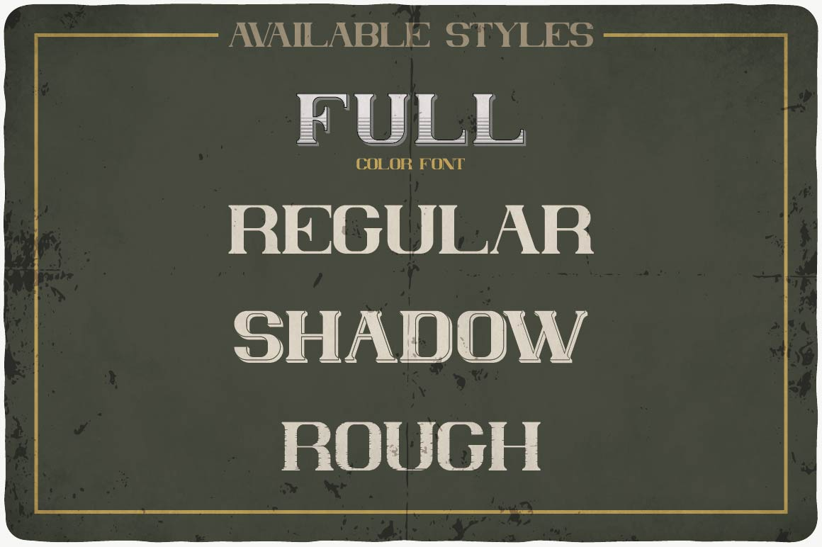Available styles of Absolute Typeface.