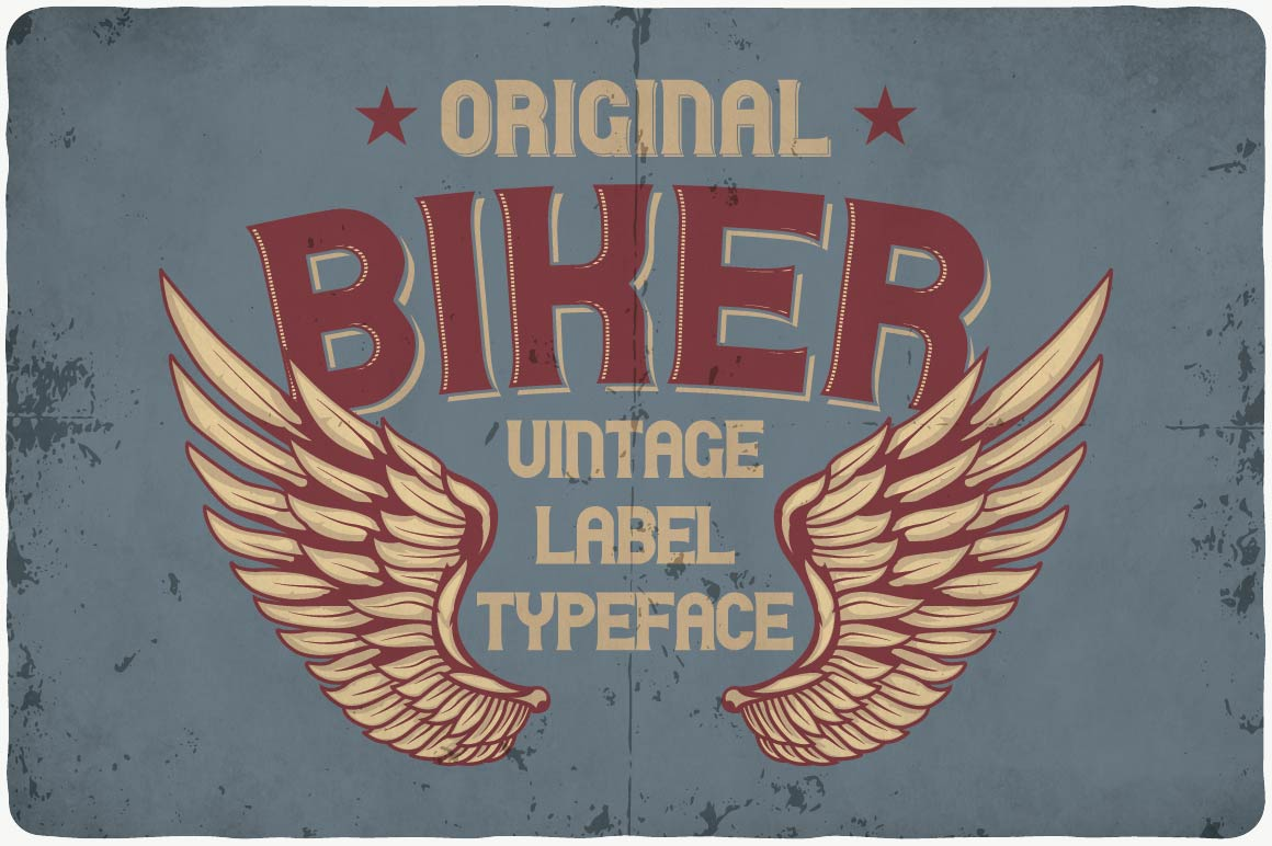 Vintage style with font with wings.