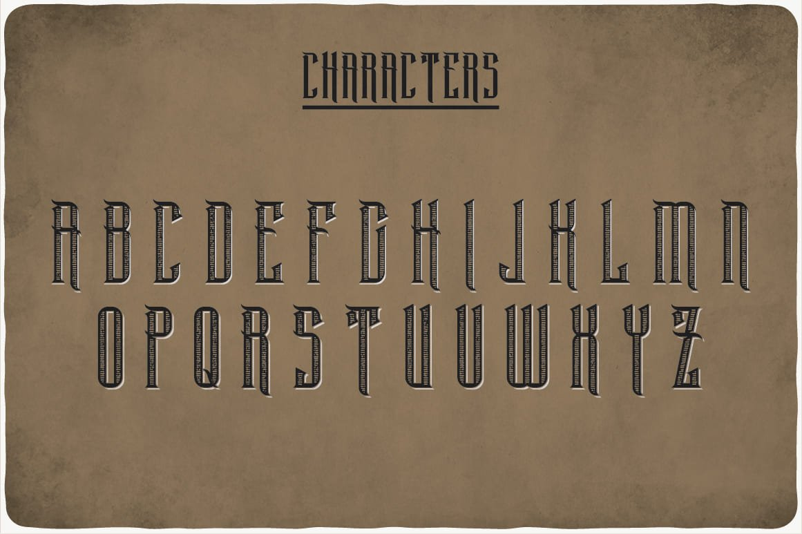 Available characters of Black Widow Typeface.