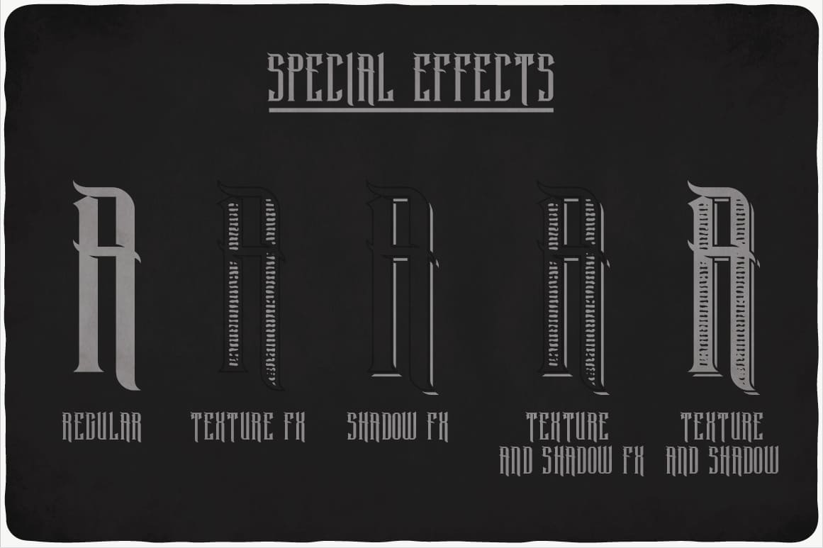 Special effects of Black Widow Typeface.