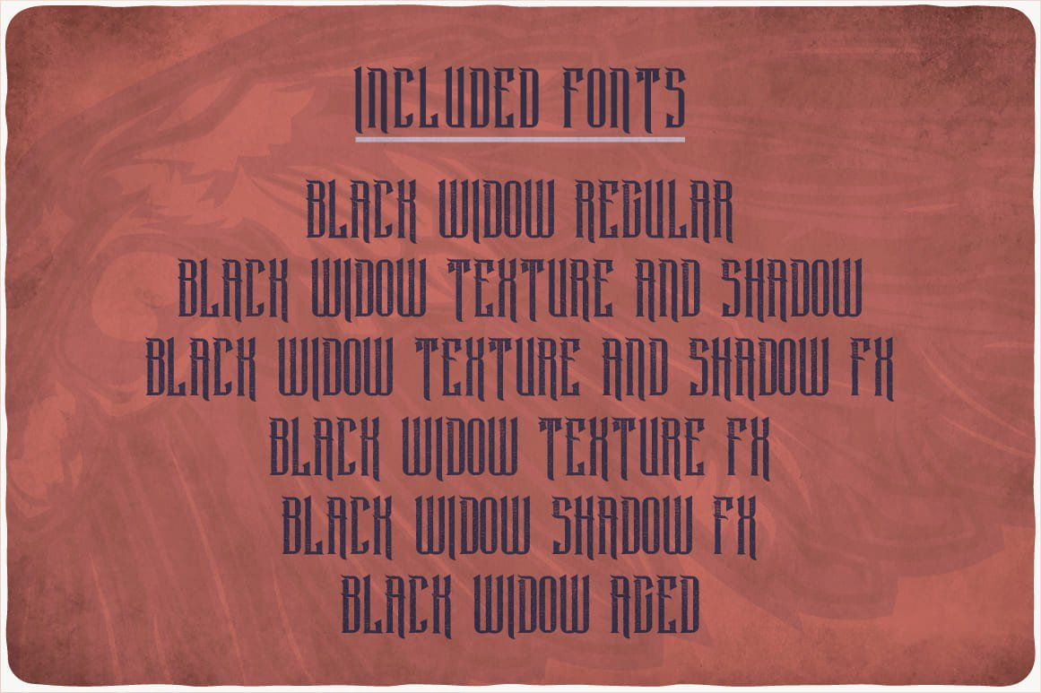 Included fonts in Black Widow Typeface.