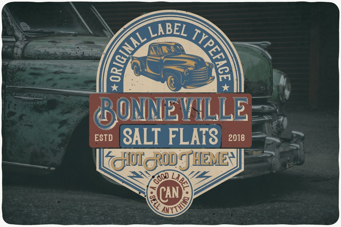 Vintage style font with retro car and logo.