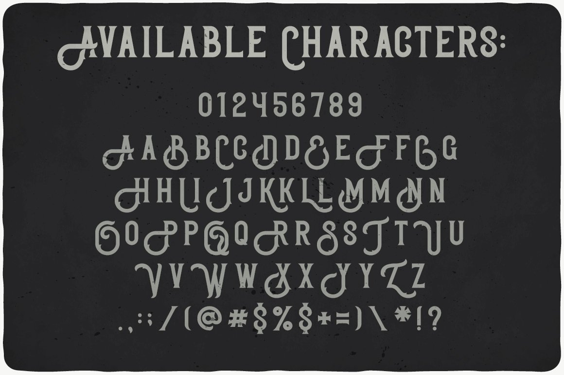 Available characters of Bonneville Typeface.