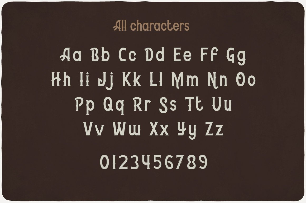 All characters of Bourbon Typeface.