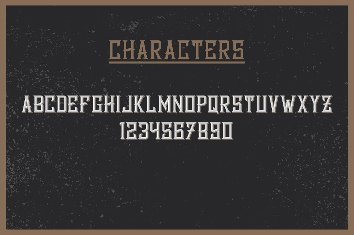 Available characters of Bourbon Label Typeface.