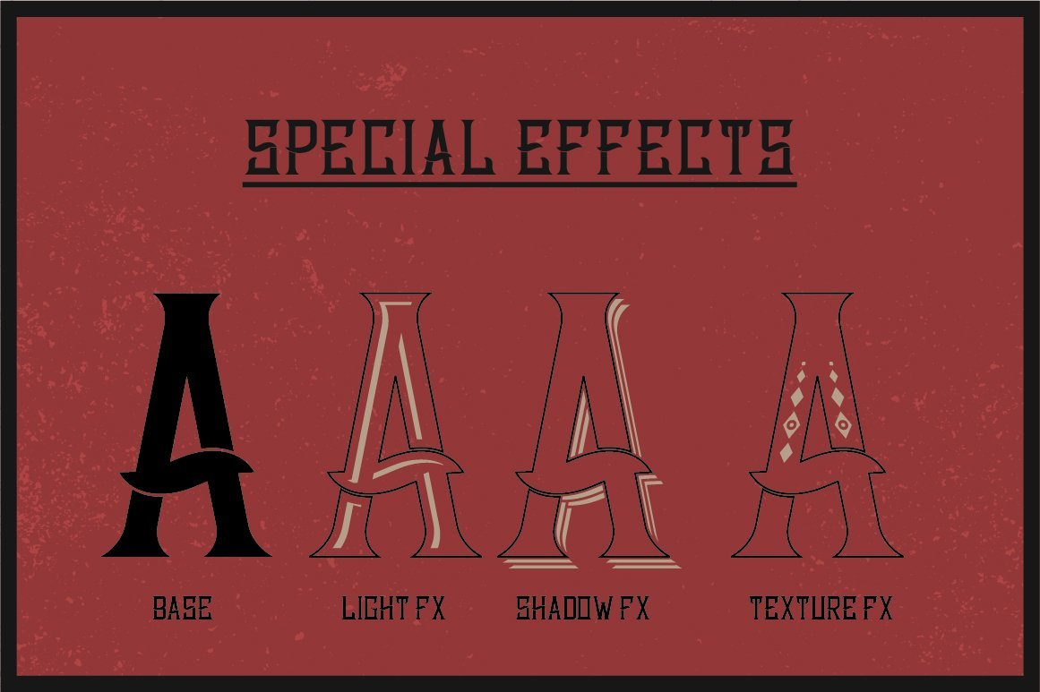 Special effects of Bourbon Label Typeface.