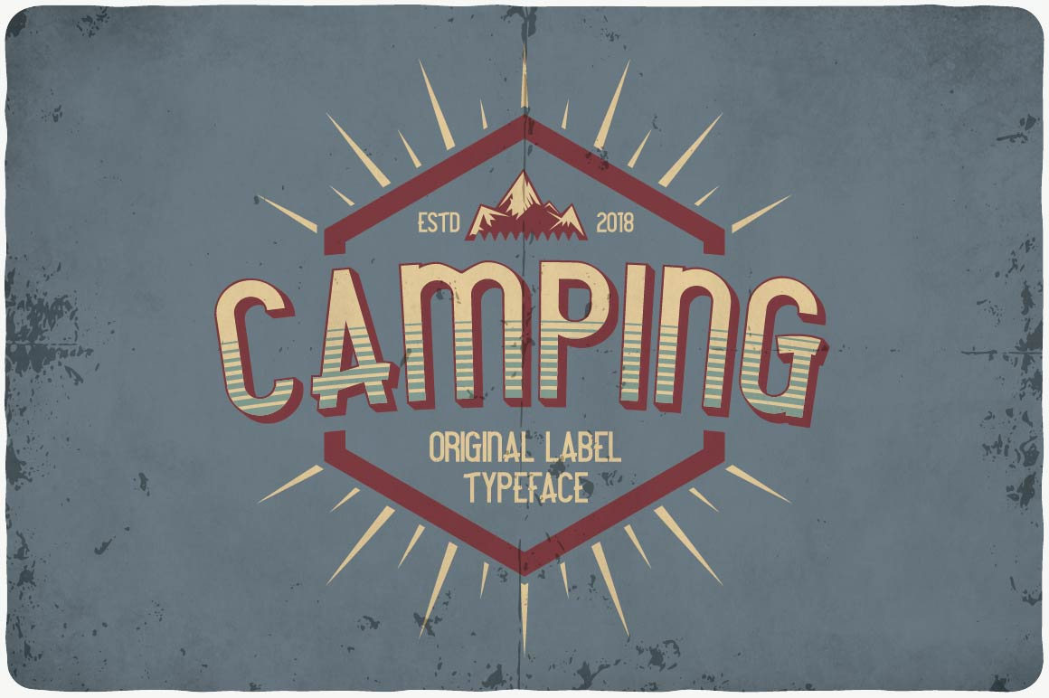 Calm color background with vintage font invite everyone to the camp.