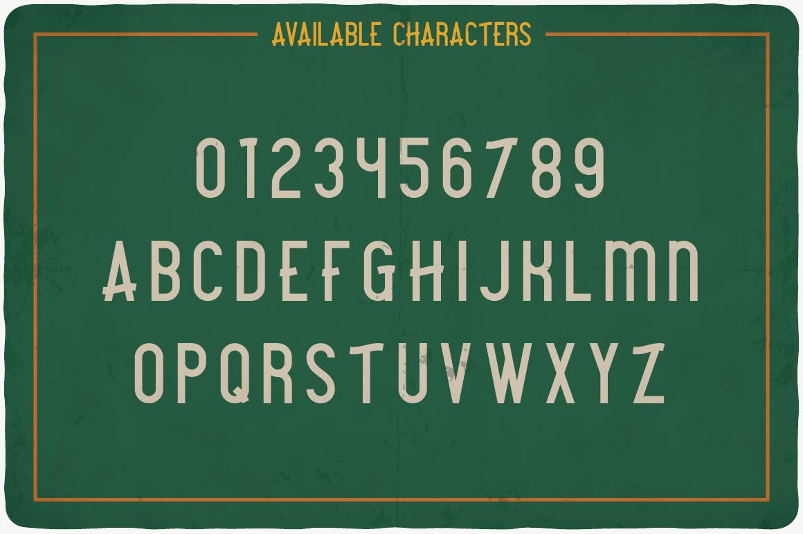 Available characters of Camping Typeface.