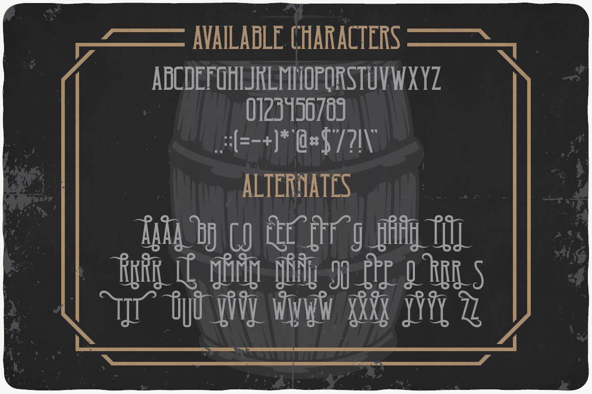 All the characteristics of the font.