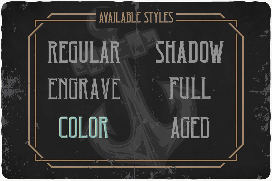 Available styles of Caribbean Font.