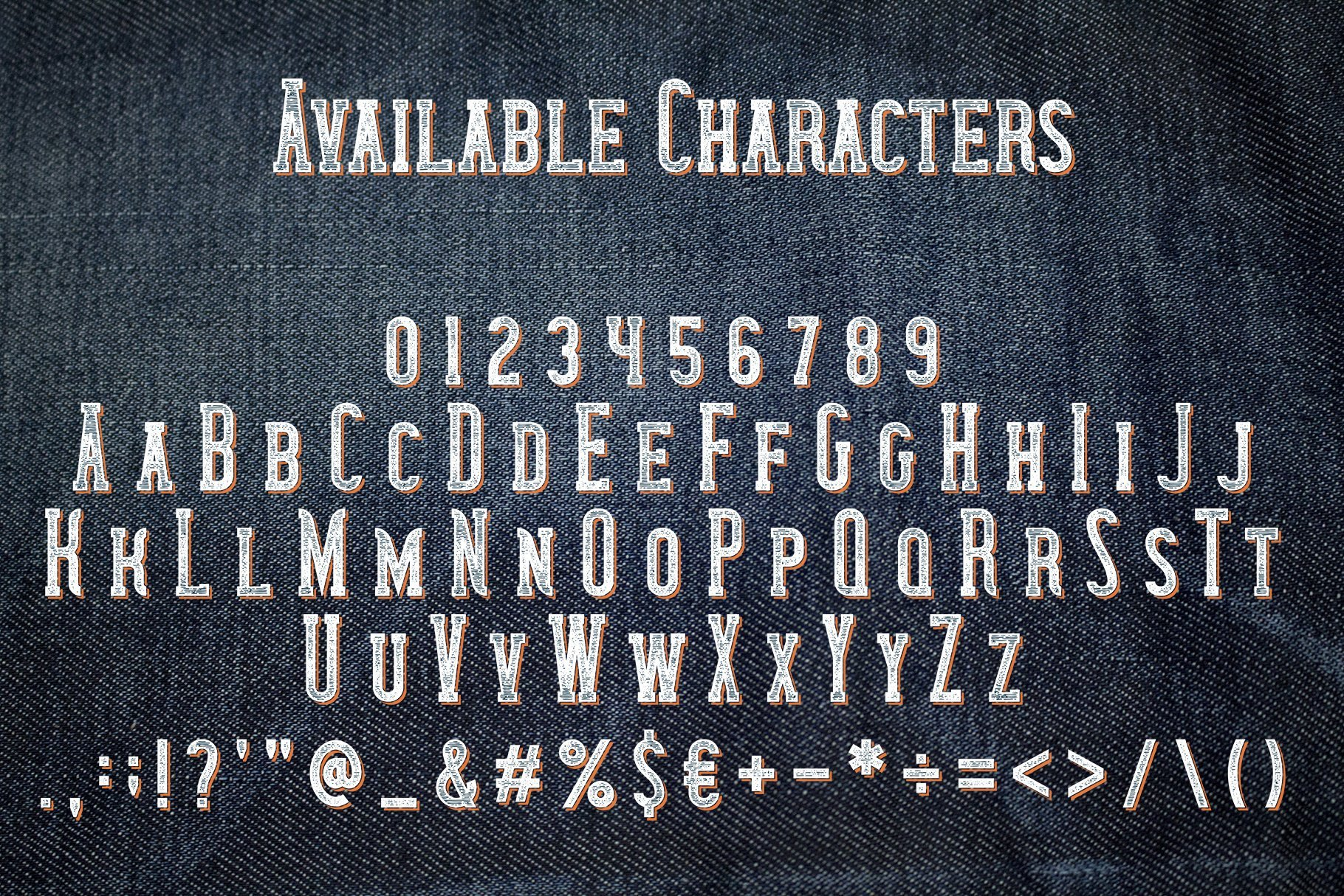 Denim depicting the entire font and its features.