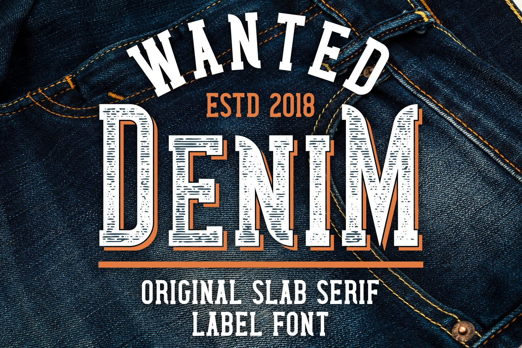 Denim base with embossed type.