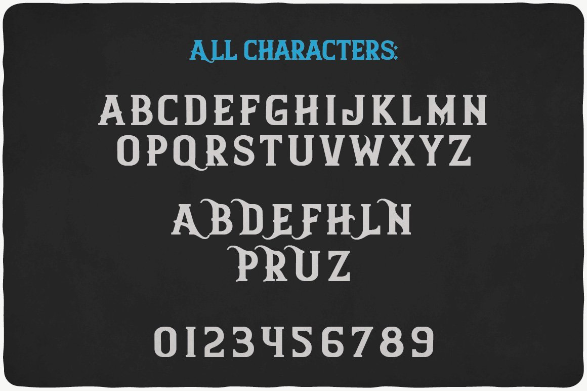 All characters of Finest Whiskey Font.