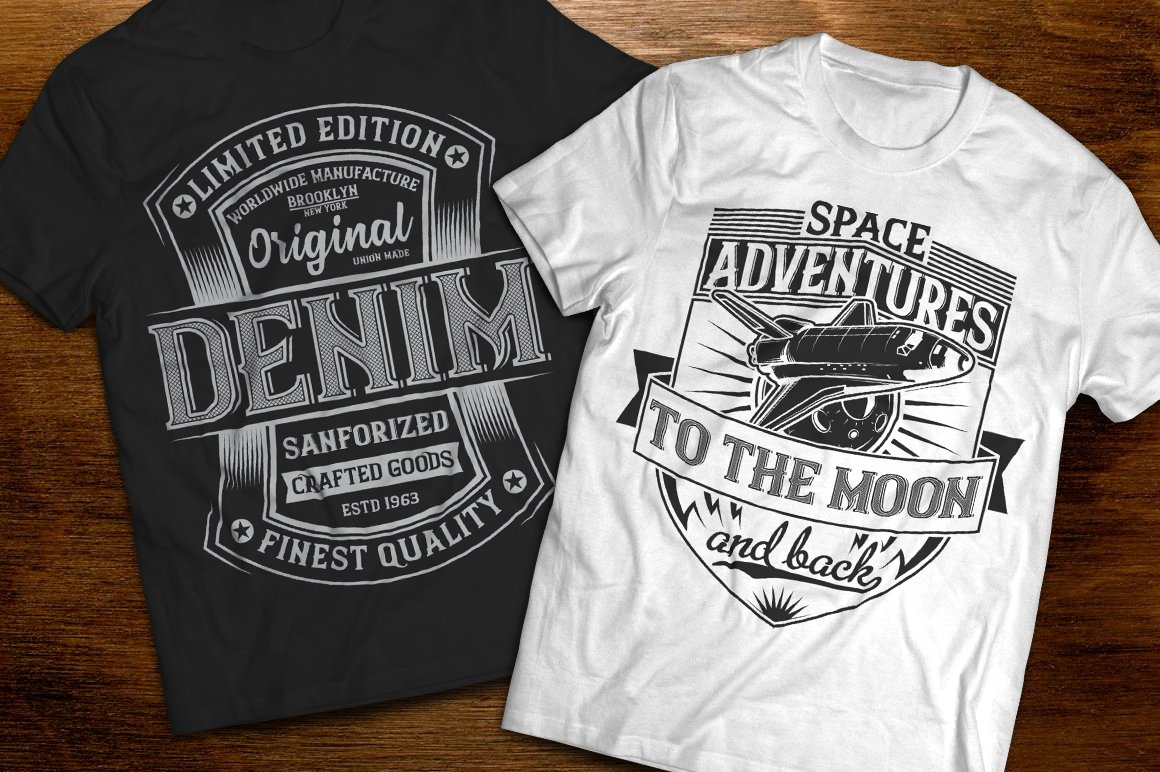Black and white T-shirt with themed images and vintage print.