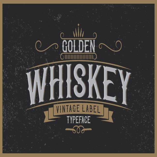Golden whiskey typeface main cover.