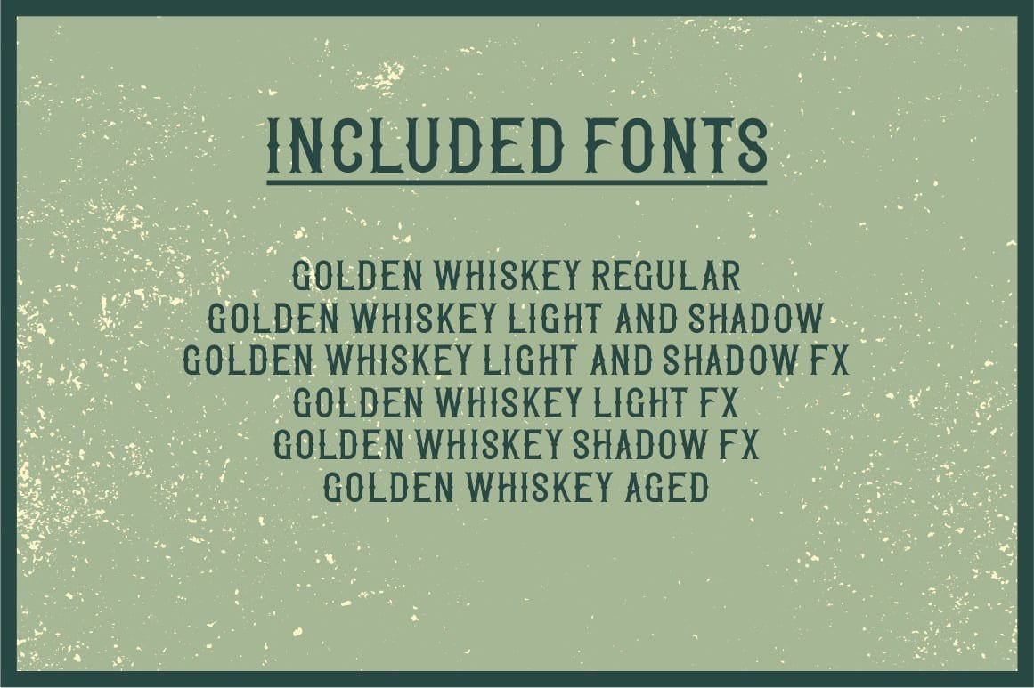 Included fonts in Golden Whiskey Typeface.