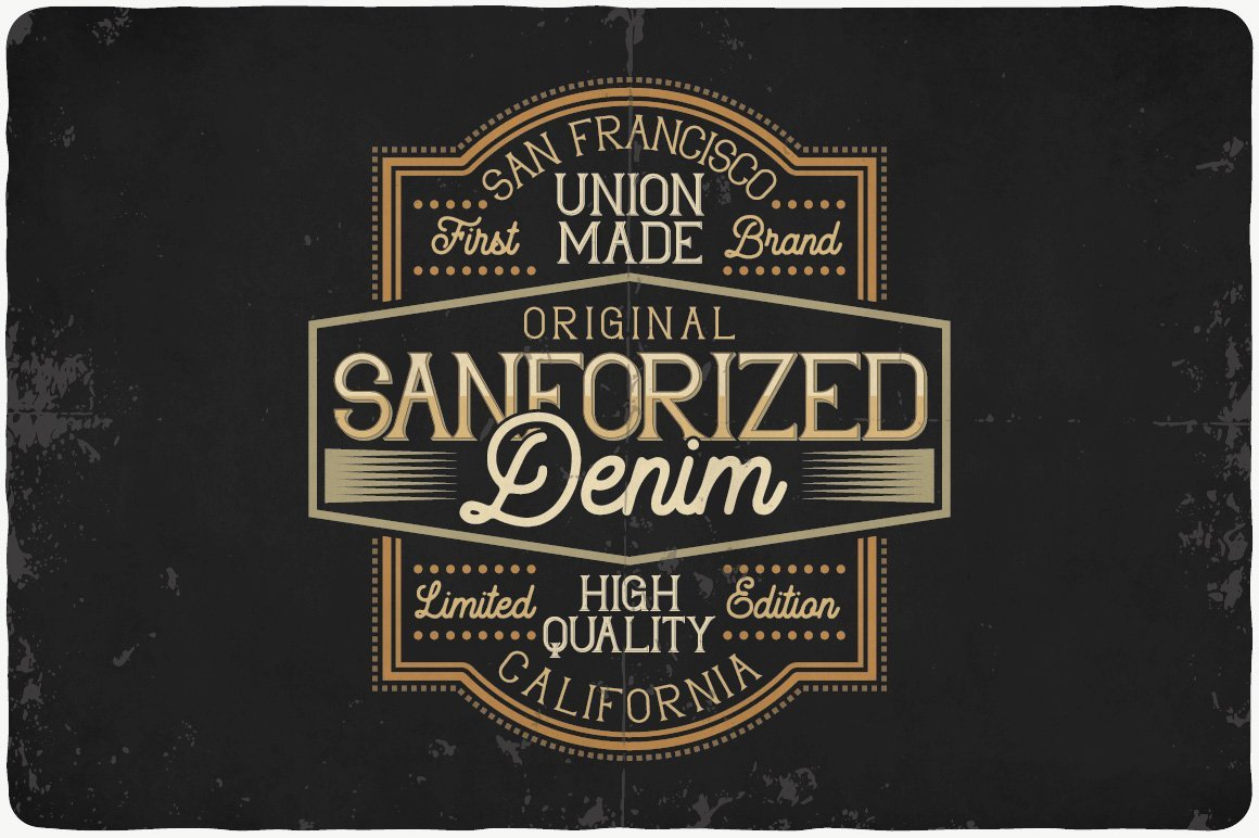 Dark brown with gold font and graphics.
