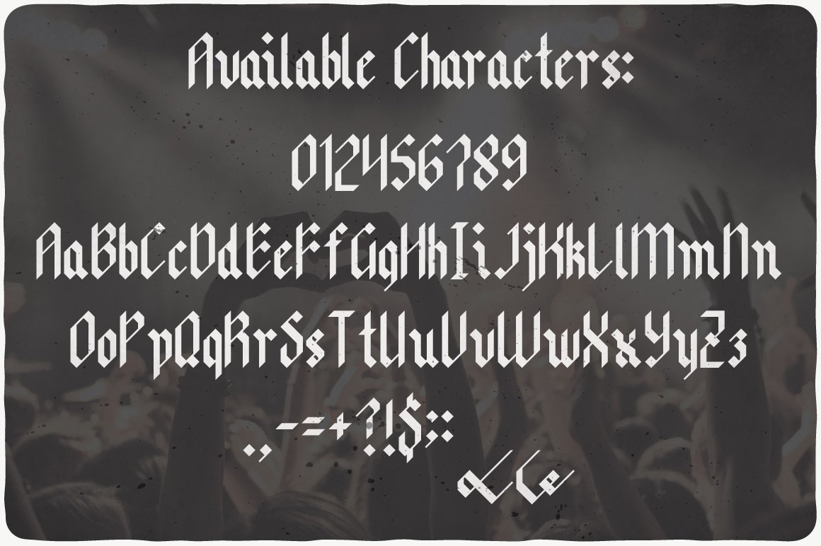 Available characters of Main Stage Typeface.